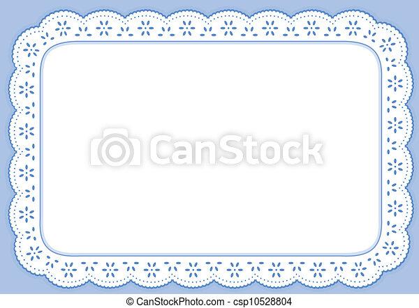 bleu, pastel, placemat, dentelle, oeillet - csp10528804