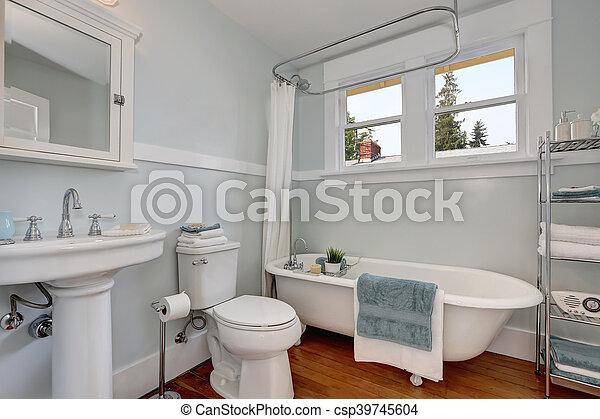 bleu, pastel, salle bains, murs, conception, artisan, intérieur
