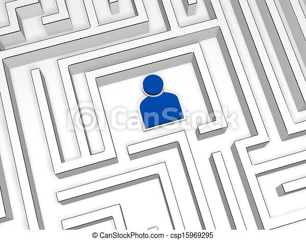 bleu, personne, labyrinthe, signe - csp15969295