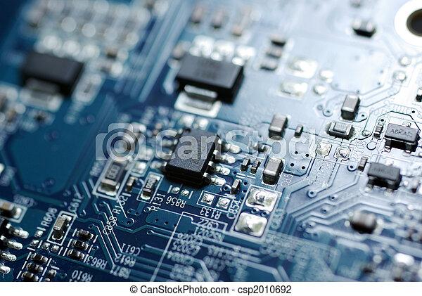 bleu, photo, haut, pc, circuit, board., fin - csp2010692