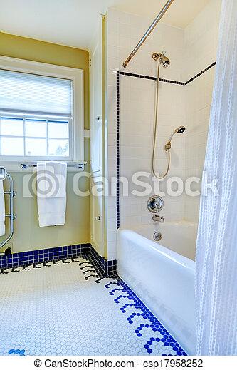bleu, plancher salle bains, jaune, clair, carreau, blanc
