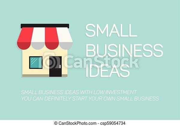 bleu, plat, concept, business, fond, petit, bannière - csp59054734