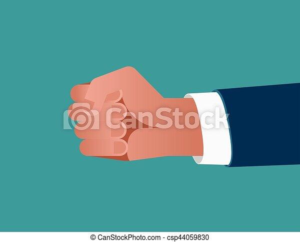 bleu, plat, concept, illustration., business, homme affaires, arrière-plan., vecteur, poing - csp44059830