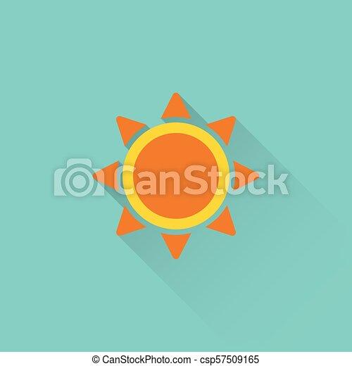 bleu, plat, icône, fond, soleil - csp57509165