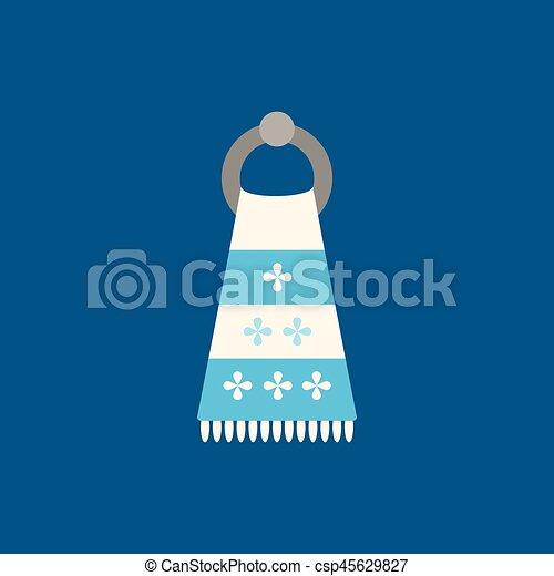 bleu, plat, serviette, illustration., arrière-plan., vecteur, icône - csp45629827