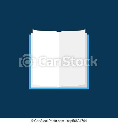 Bleu Plat Vecteur Fond Livre Ouvert Icone