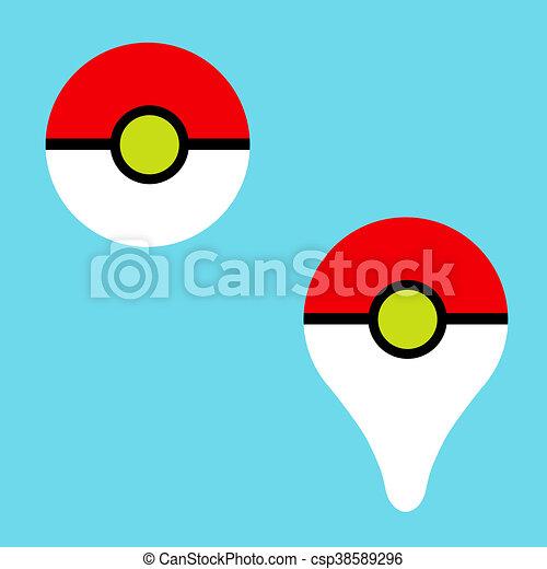 Bleu Pokeball Arrière Plan Jeu Aller Pokemon Icône