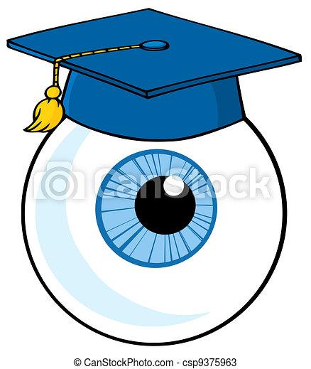 bleu, porter, casquette, globe oculaire - csp9375963