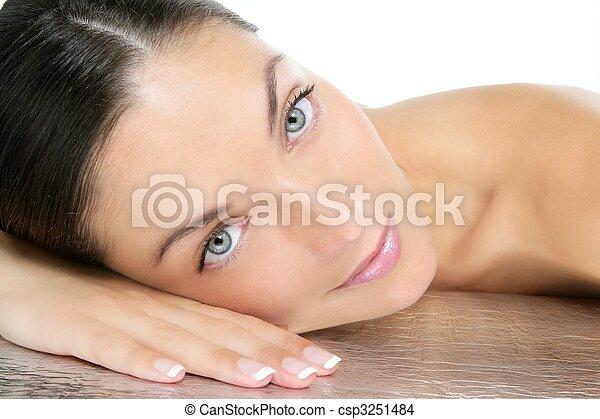 bleu, portrait, yeux, brunette, beauté - csp3251484