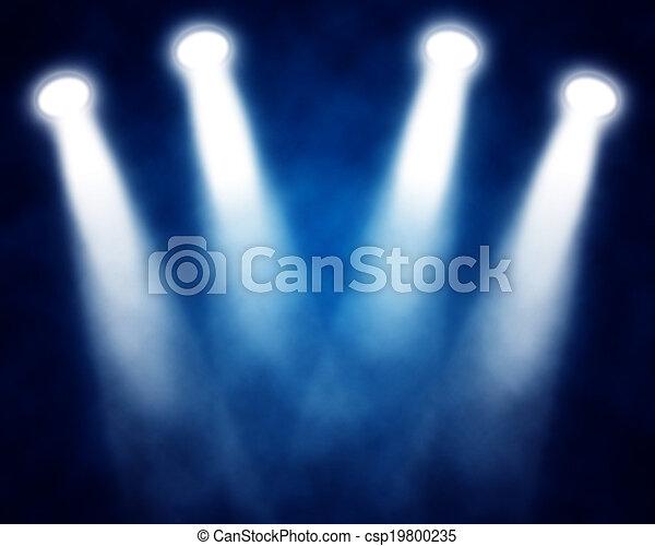 bleu, projecteurs, illustration, étape - csp19800235