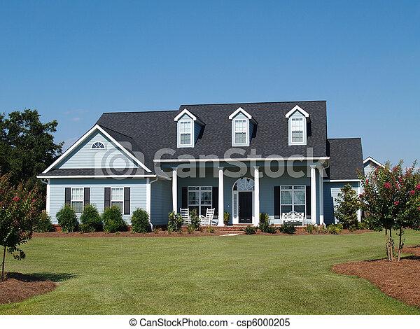 bleu, résidentiel, histoire, deux, maison - csp6000205
