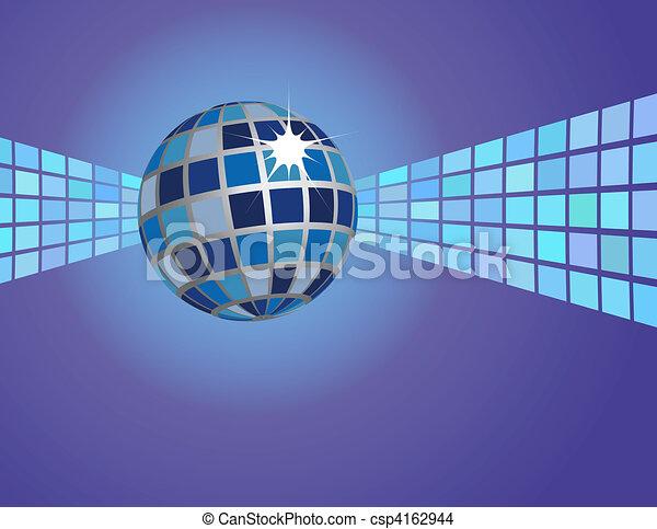 bleu, résumé, balle, fond, disco - csp4162944