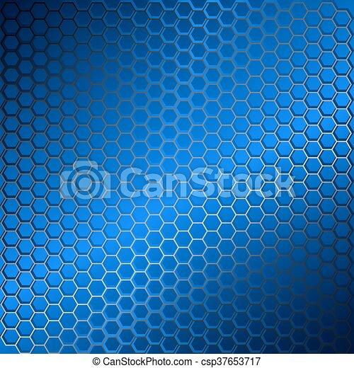bleu, résumé, métal, hexagons., arrière-plan grille - csp37653717