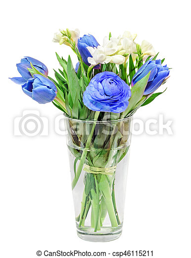 Bleu ranunculus tulipes bouquet fleurs freesias for Bouquet de tulipes