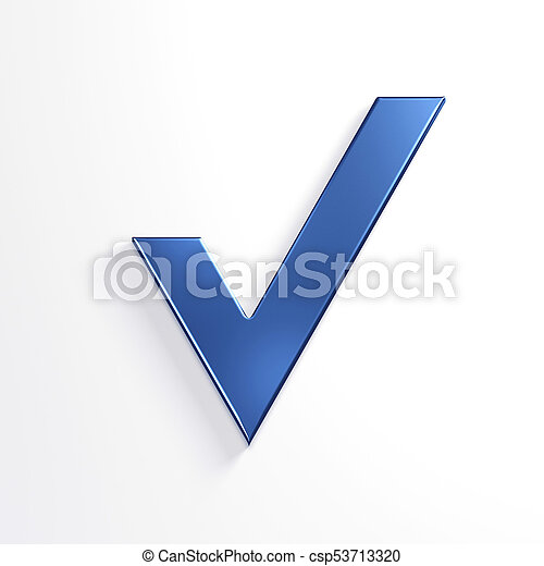 bleu, render, mark., illustration, chèque, 3d - csp53713320