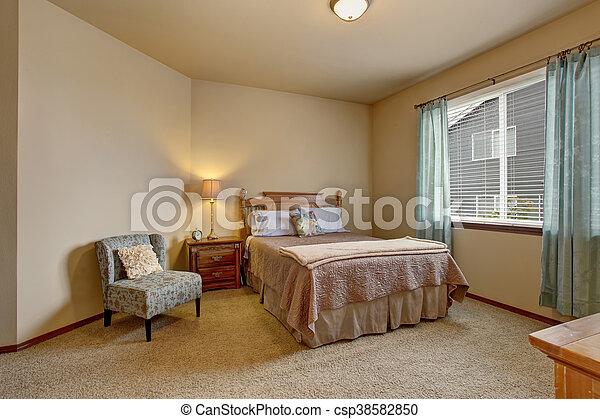 bleu, rideaux, lit, élégant, couleurs, beige, chambre à coucher, doux