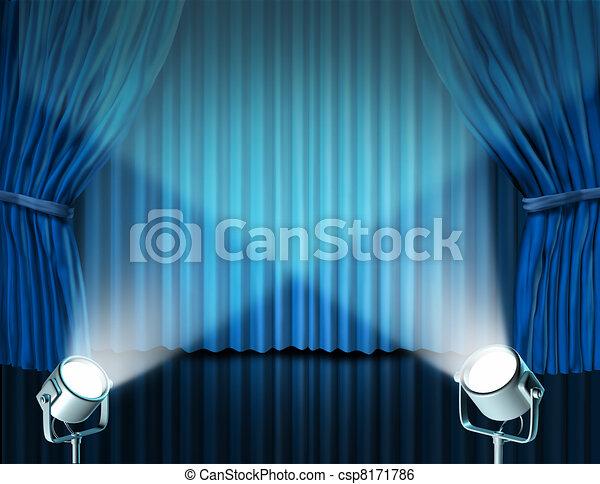 bleu, rideaux, velours, projecteurs, cinéma - csp8171786