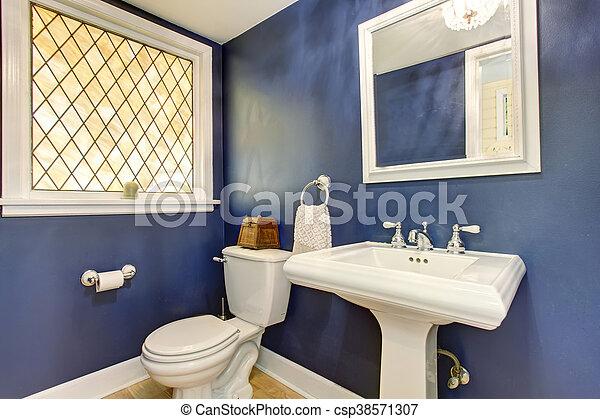 bleu, salle bains, brillant, floor., murs, bois dur