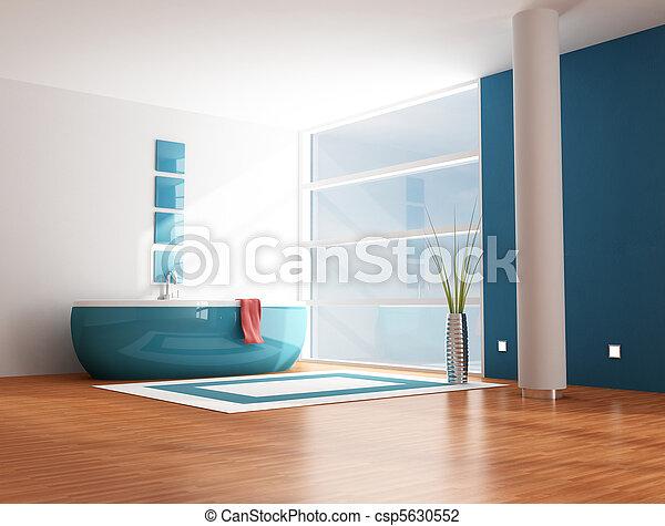 bleu, salle bains - csp5630552