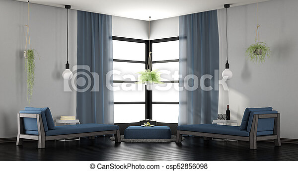 bleu, salon, blanc, moderne