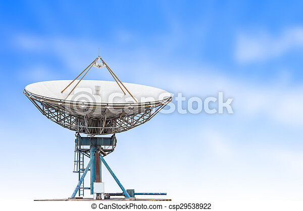 bleu, satellite, antenne, grand ciel, radar, fond, plat, herbe, taille - csp29538922