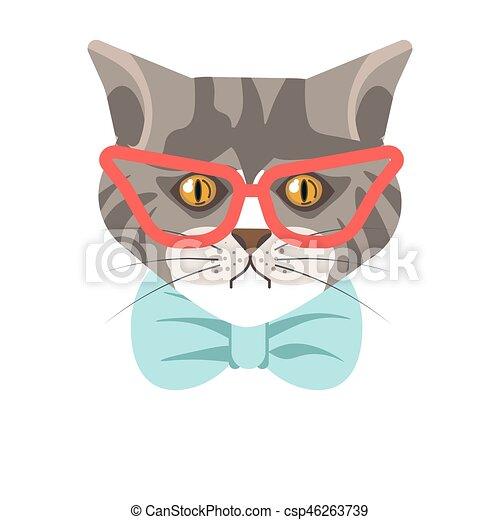 bleu, sibérien, chat, cravate, portrait, rouges, lunettes