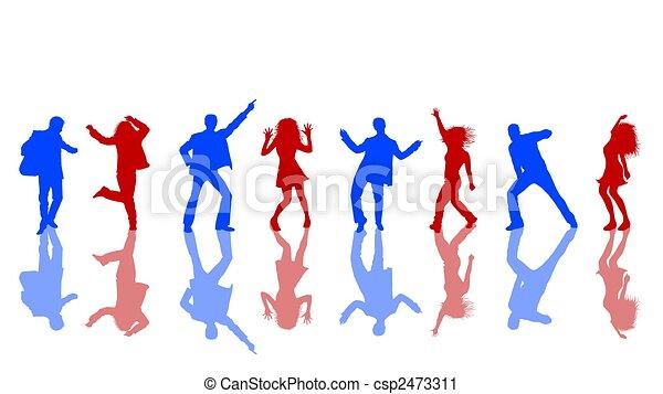 bleu, silhouettes, rouges, danse - csp2473311
