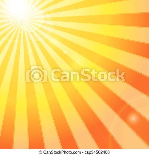 bleu, soleil, ciel, nuageux, briller - csp34502408