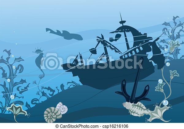 Bleu sous marin couleur paysage - Dessin sous marin ...
