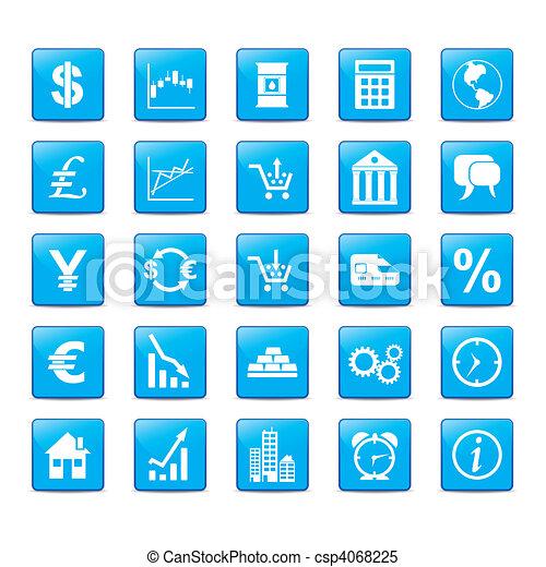 bleu, style, ensemble, icône, markets. - csp4068225