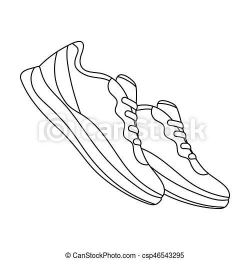 bleu, style, illustration., chaussures, icône, séance entraînement, sports., sports, unique, vecteur, espadrilles, .gym, stockage, symbole, contour