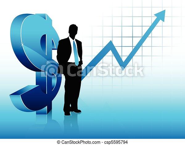 bleu, succès financier, projection, thème, homme affaires, silhouette - csp5595794