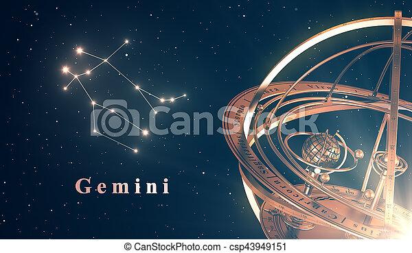 bleu, sur, sphère, gémeaux, fond, zodiaque, constellation, armillary - csp43949151