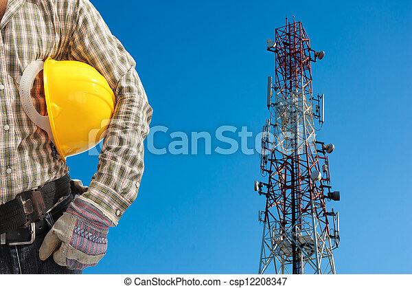 bleu, télécommunication, sky., peint, clair, contre, tour, technicien, blanc, jour, rouges - csp12208347