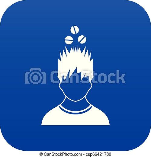 bleu, tête, sur, tablettes, numérique, icône, homme - csp66421780