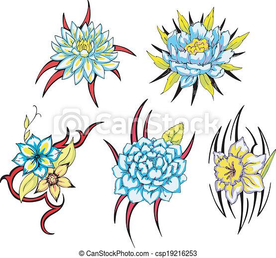 Dessin Tribal Fleur bleu, tatouages, tribal, fleur. ensemble, rose, tribal, divers