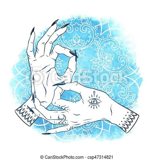 Bleu Tatouages Yoga Femme Mudra Sur Mains Boho Illustration