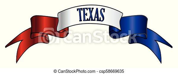 bleu, texan, texte, blanc rouge, ruban satin - csp58669635