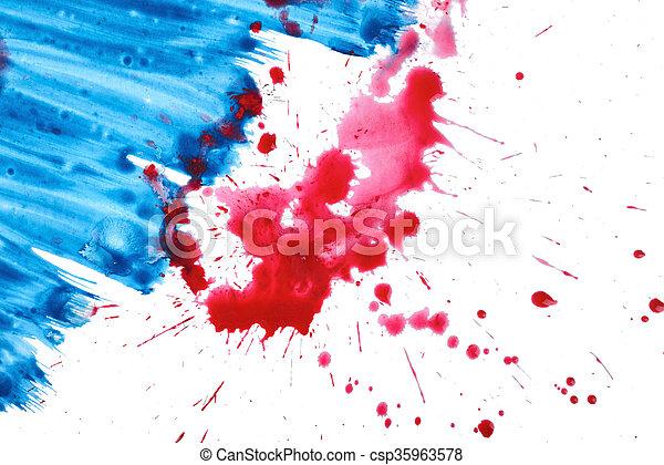 Bleu Textures Peinture Aquarelle Gouache Brosse Fond Blanc