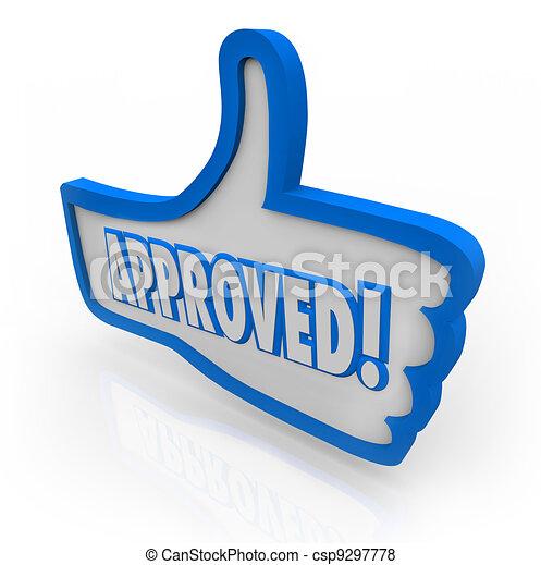 bleu, thumb's, aimer, symbole, haut, approuvé, accepté, consenti - csp9297778