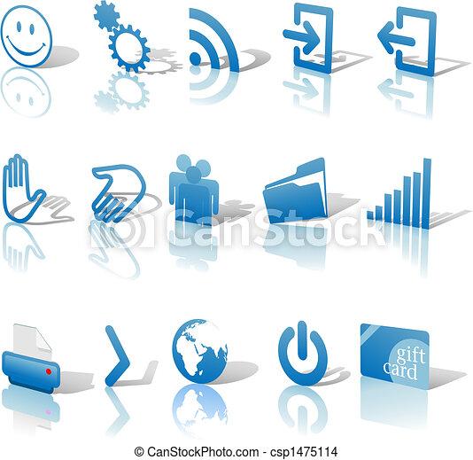 bleu, toile, ensemble, icônes, &, incliné, 1, relections, ombres - csp1475114