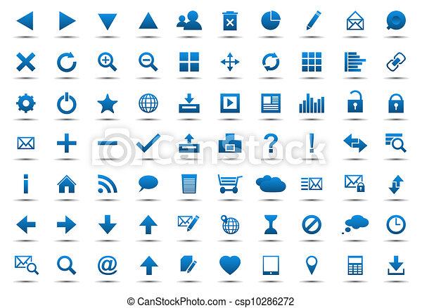 bleu, toile, ensemble, navigation, icônes - csp10286272