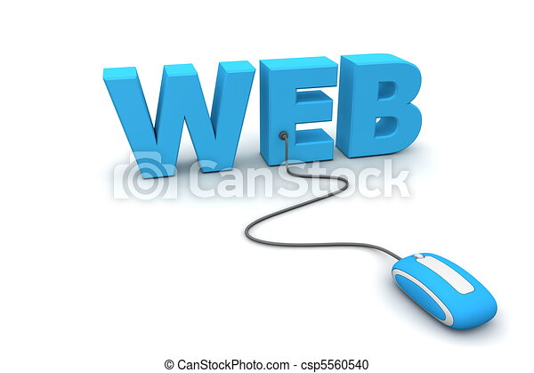 bleu, toile, souris, -, brouter - csp5560540