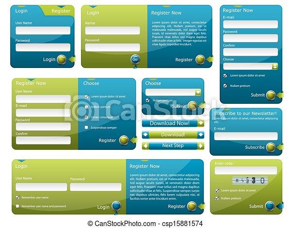 bleu, toile, vert, gabarit, formulaire - csp15881574