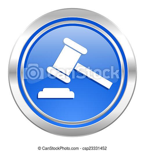 bleu, tribunal, enchère, symbole, bouton, signe, verdict, icône - csp23331452