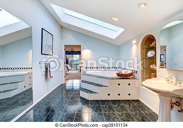 bleu tub plancher salle bains bain matre carreau coin marbre photo libre de droits - Salle De Bain Sur Plancher