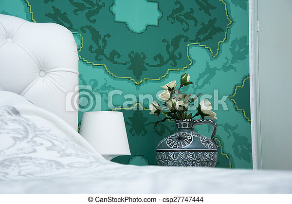 Bleu, turquoise, blanc, chambre à coucher. Turquoise, entiers ...