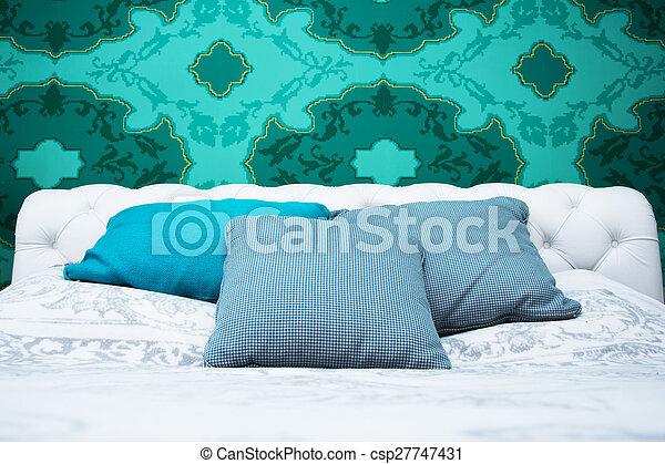 Bleu, turquoise, blanc, chambre à coucher. Turquoise, coloré ...