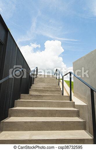 bleu, urbain, escalier, moderne, ciel, béton, architecture