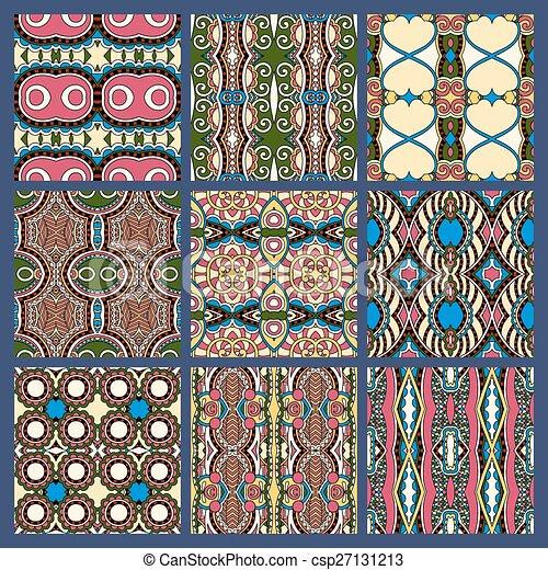 bleu, vendange, seamless, sombre, sale, modèle, géométrique - csp27131213